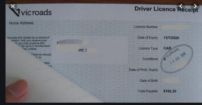 临时驾照收据